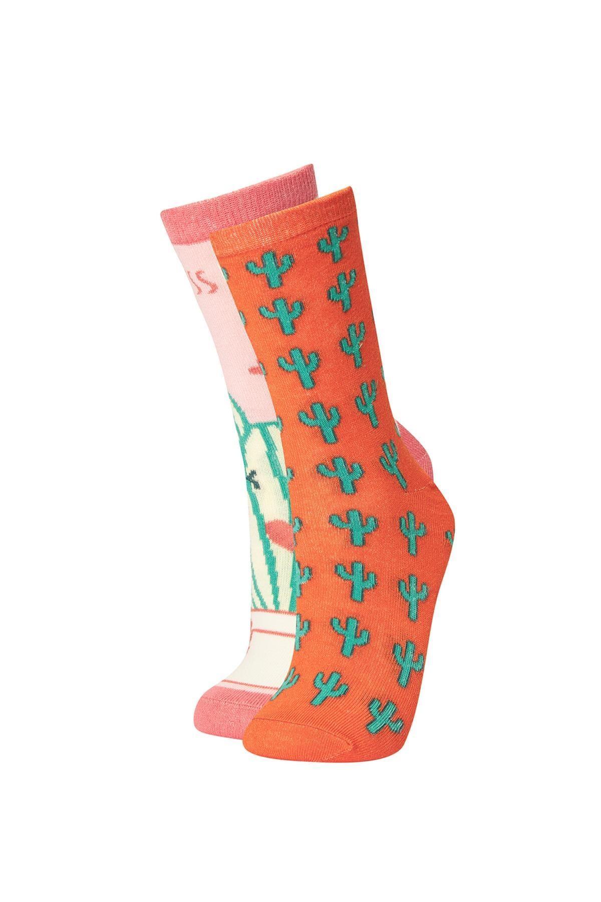 DeFacto Kadın Çok Renkli 2'li Çorap S2918AZ21AU