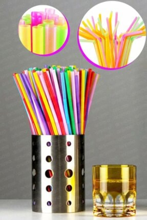 Arsimo Renkli Körüklü Jelatinli Plastik Pipet 200 Adet