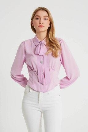 Robin Kurdele Detaylı Bluz Lila