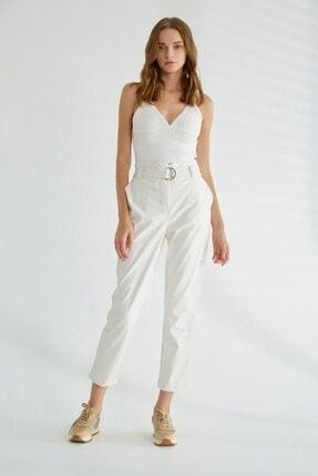 Robin Kemer Detaylı Cepli Deri Pantolon Beyaz