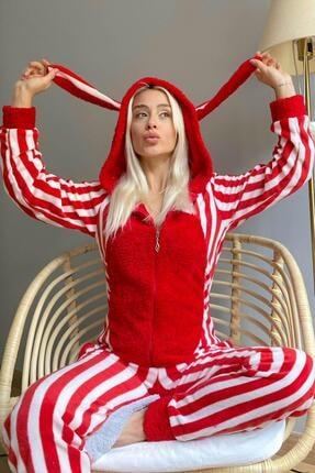 Pijamaevi Kırmızı Çizgili Desenli Polar Peluş Tulum Kadın Pijama