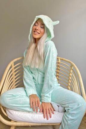 Pijamaevi Yeşil Snowflake Desenli Kadın Polar Peluş Tulum Pijama