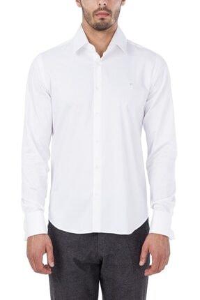 Avva Erkek Beyaz Düz Klasik Yaka Slim Fit Gömlek B002211