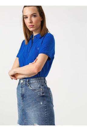LİMON COMPANY Limon Kadın Polo Yaka Saks Mavisi T-shirt