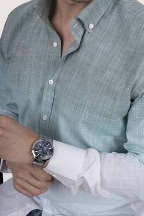 Etikmen Panolu Yeşil Beyaz Geçişli Slimfit Keten Gömlek