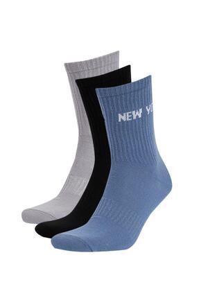 DeFacto Erkek Şehir İşlemeli Pamuklu 3'lü Soket Çorap