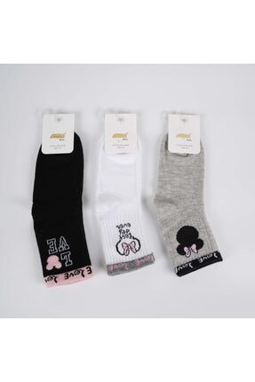 Artı Asvora 3'lü Kız Çocuk Pamuk Soket Çorap