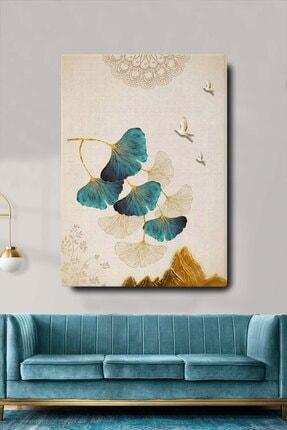 Blok Design Dekoratif Soyut Çiçek Ve Kuşlar Sürreal Kanvas Duvar Tablosu