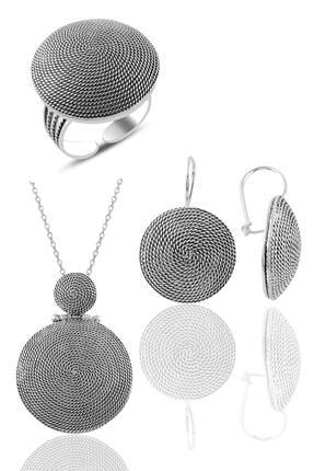 Söğütlü Silver Gümüş Salyangoz Modeli Yuvarlak Telkari Üçlü Set