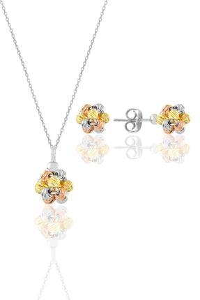 Söğütlü Silver Gümüş Altın Yaldızlı, Rodaj Ve Rose Renkli Dorissa Dorica Top Kolye Ve Küpe Seti