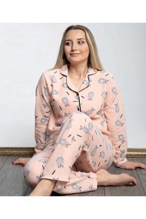 Sude Kadın Somon Önden Düğmeli Polar Pijama Takımı