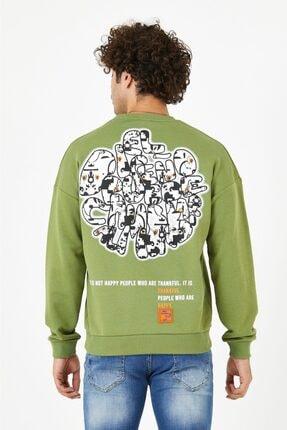 BREEZY Haki Yeşil Unisex Oversize Sırt Baskılı Sweatshirt Thankful Happy