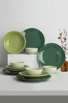 Keramika Ege Degrade Yeşil Yemek Takımı 12 Parça 4 Kişilik