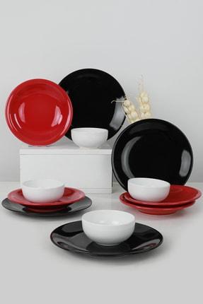 Keramika Ege Degrade Kırmızı-siyah-krem Yemek Takımı 12 Parça 4 Kişilik