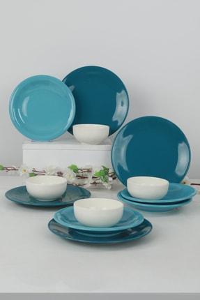 Keramika Ege Degrade Turkuaz Yemek Takımı 12 Parça 4 Kişilik