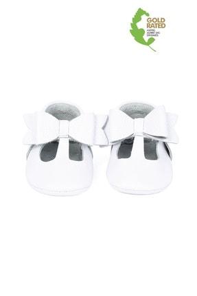 YoYo Junior Hakiki Deri Beyaz Kurdela Detaylı Bebek Patik