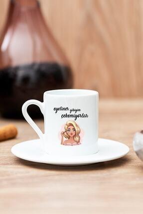 Hediyedukkani Beyaz Eyeliner Gibiyim Çekemiyorlar Baskılı Türk Kahvesi Fincanı