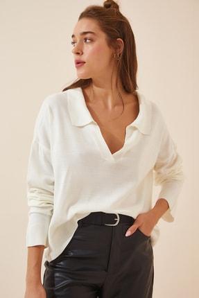 Happiness İst. Kadın Kırık Beyaz Polo Yaka Dökümlü Triko Kazak VM00034