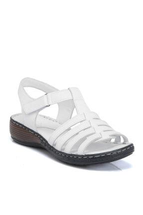 Tergan Beyaz Deri Kadın Sandalet 64350a26