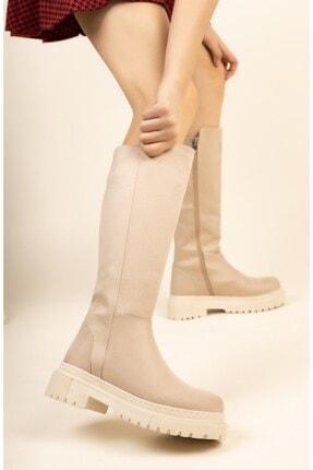 meyra'nın ayakkabıları Ten Cilt Düz Çizme