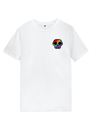 MINECRAFT Kurukafa Baskılı Kısa Kollu Beyaz Gamer Tişört