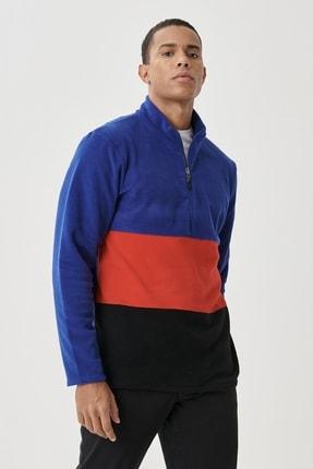 AC&Co / Altınyıldız Classics Erkek SAKS-KIRMIZI Standart Fit Günlük Rahat Bato Yaka Polar Sweatshirt