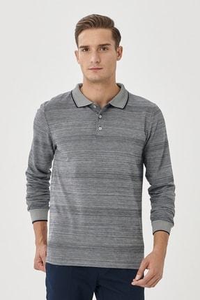 AC&Co / Altınyıldız Classics Erkek Lacivert Slim Fit Dar Kesim Günlük Rahat Spor Polo Yaka Sweatshirt