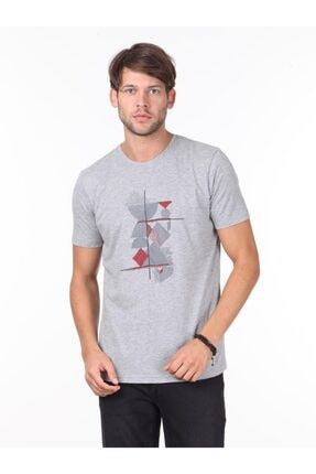 Kip Erkek Gri Baskılı Örme T - Shirt KP10120721