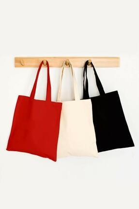 Çınar Bez Çanta Baskısız Krem Kırmızı Siyah Bez Çanta