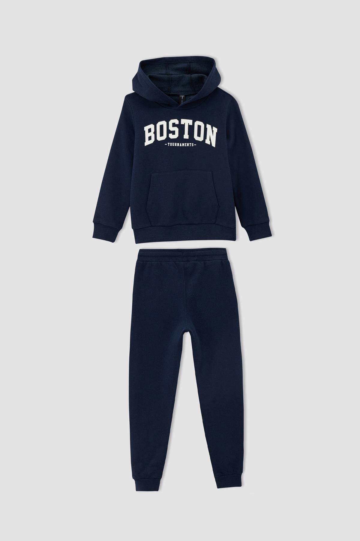 DeFacto Erkek Çocuk Slim Fit Slogan Baskılı Sweatshirt Ve Jogger Eşofman Takımı