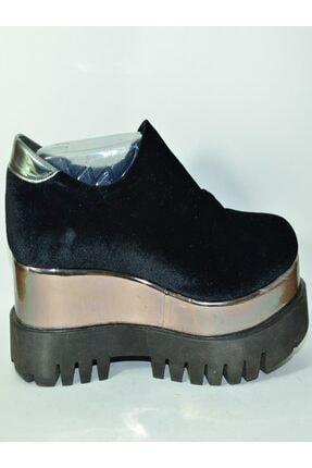 İnci Siyah Platformlu Kadın Ayakkabısı