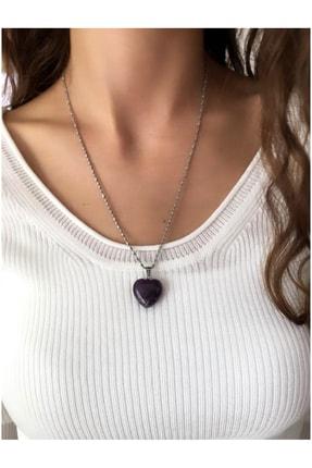 Serline Desing Kadın Çelik Zincirli Kalp Ametist Doğaltaşlı Kolye (55 Cm)