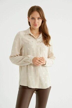 Robin Sırt Detaylı Desenli Gömlek Bej