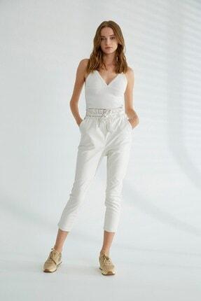 Robin Kuşak Detaylı Deri Pantolon Beyaz