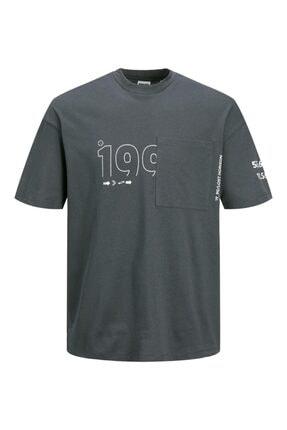 Jack & Jones Jack Jones Fung Tee Ss Crew Neck Erkek Antrasit Tshirt 12193026-16