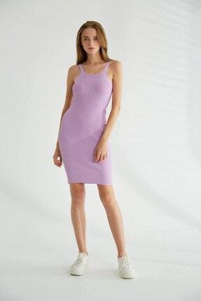 Robin Askılı Triko Elbise Lila