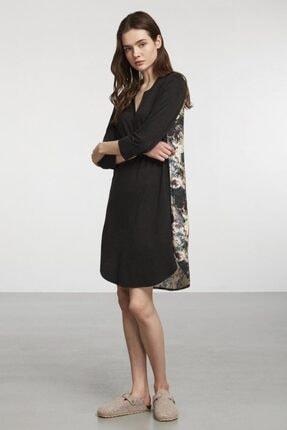 Penyemood Siyah V Yaka Desenli Örme Elbise