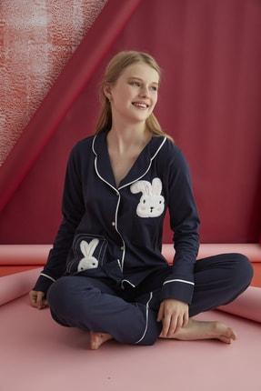ELİTOL Pamuklu Likralı Düğmeli Pijama Takım