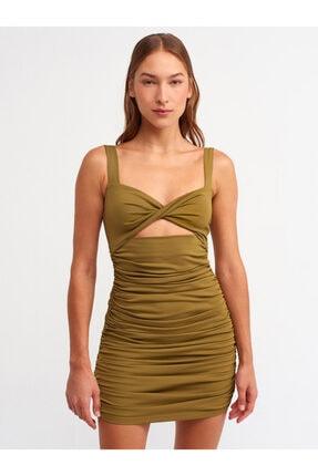 Dilvin 9100 Büzgü Detaylı Elbise-yağ Yeşil