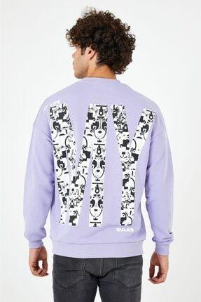 BREEZY Lila Unisex Oversize Sırt Baskılı Sweatshirt My Life My Rules