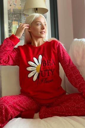 Pijamaevi Kırmızı Papatya Desenli Kadın Peluş Pijama Takımı