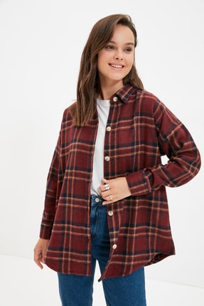 Trendyol Modest Bordo Oduncu Ekose Gömlek Tunik TCTAW22UK0135