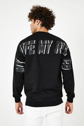 BREEZY Siyah Unisex Oversize Sırt Baskılı Sweatshirt My Life My Rules