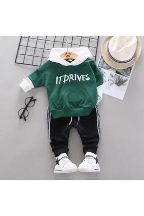 BabyWorldStore Erkek Bebek Kapşonlu Yeşil 2li Takım