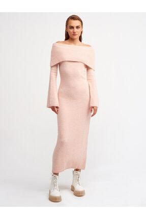 Dilvin 1216 Omuzu Açık Kolu Ispanyol Triko Elbise-pudra