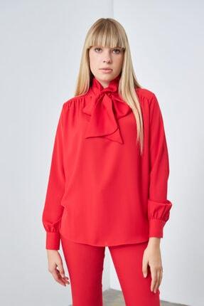 Gusto Boyundan Bağlı Bluz - Kırmızı