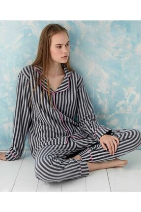 Sude Kadın  Siyah Önden Düğmeli Polar Pijama Takımı