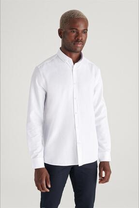 Avva Erkek Beyaz Oxford Düğmeli Yaka Regular Fit Gömlek E002000