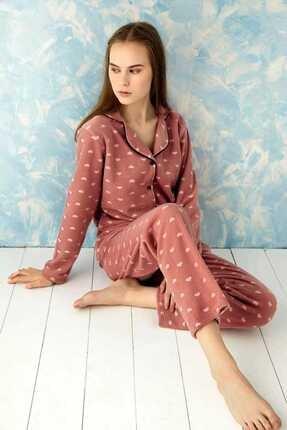 Sude Homewear Plr-p-9008 Pudra Bayan Önden Düğmeli Polar Pijama Takımı
