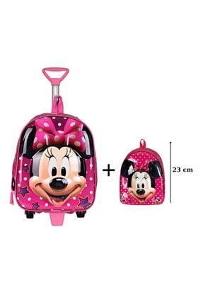 MASTER PACK Mickey Mouse Anaokulu Çanta Seti Çekçekli Çanta - Mini Sırt Çantası Pembe